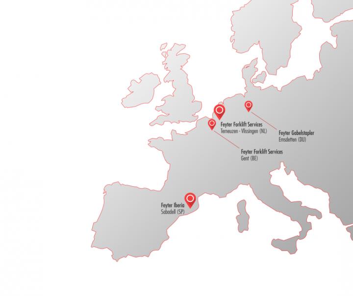 Europakarte Standorte Feyter
